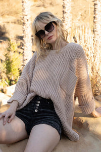 Oatmeal Beige Chenille Pullover