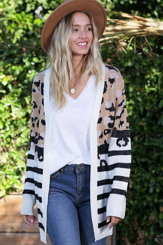 Stripe and Leopard Cardigan