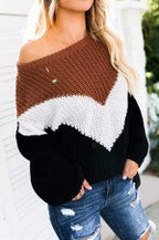 Brown Black V Design Sweater