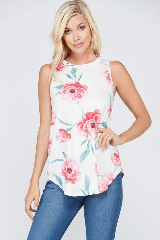 Ivory Floral Sleeveless