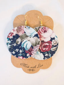 Floral Mix Leather Earrings