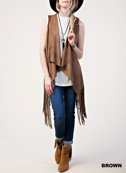 Brown Suede Fringe Vest