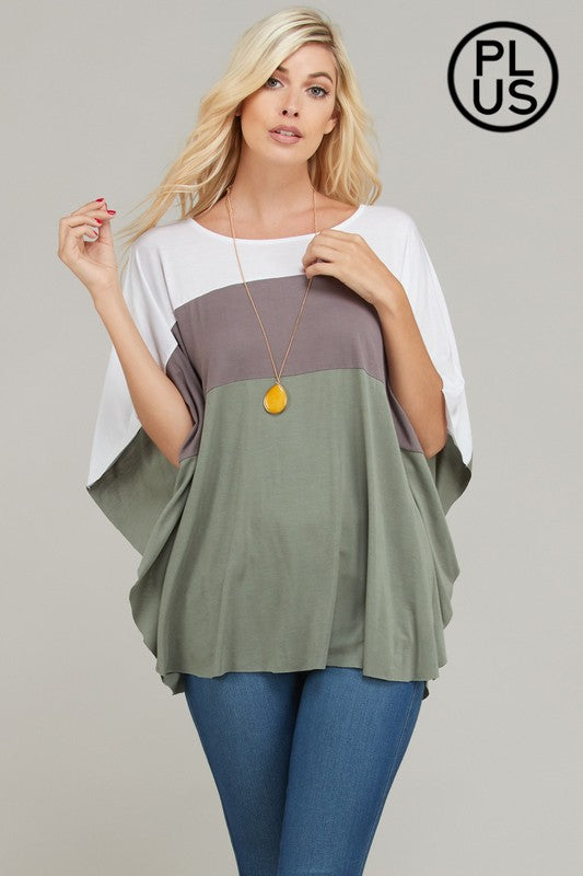 PLUS -  Color Block Dolman Blouse