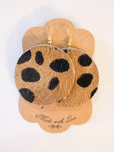 Leopard Spotted Leather Earrings