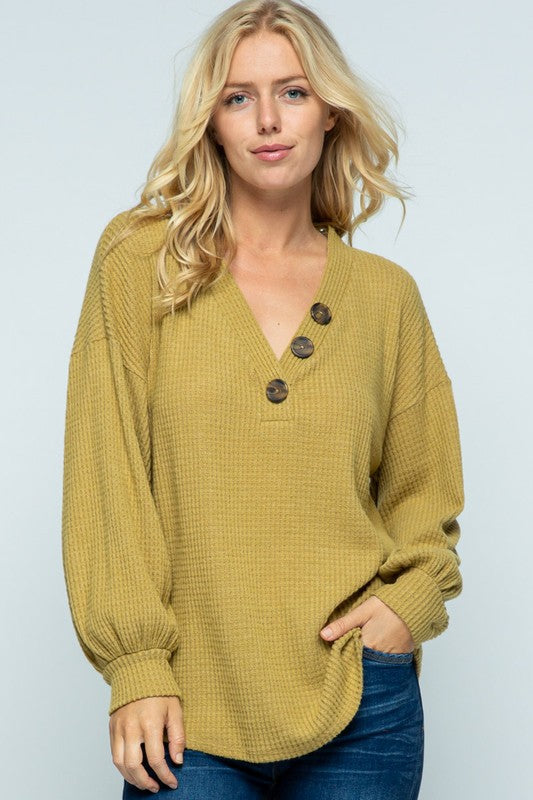 Mustard Waffle Flare Top