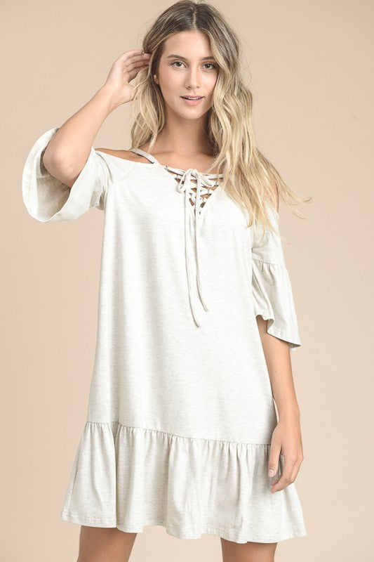 Oatmeal Cold Shoulder Dress