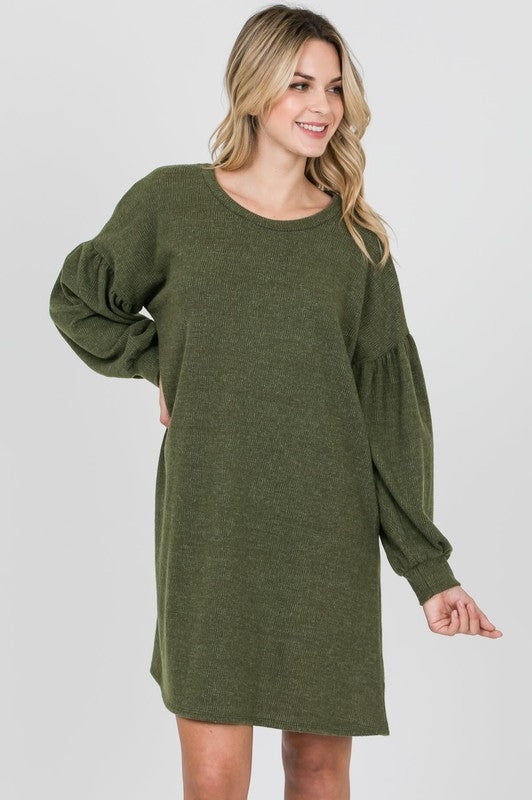 Olive Puff Sleeve Dress
