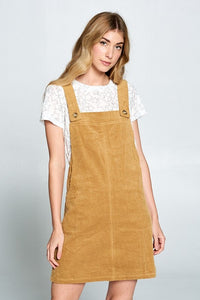 Mustard Cord Overall Dress