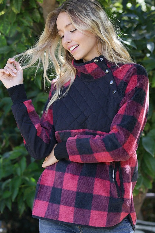 Faux Fur Pullover Red Black Plaid