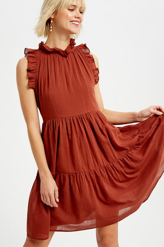 Brick Linen Tiered Dress