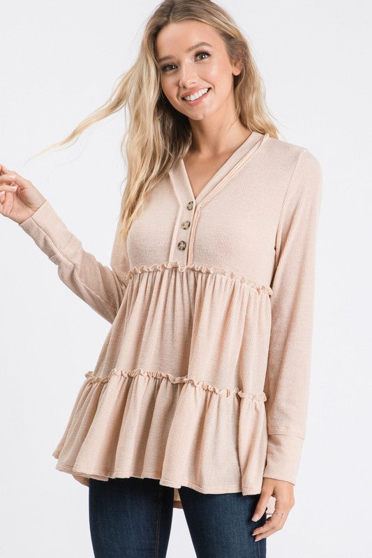 Taupe Babydoll Top