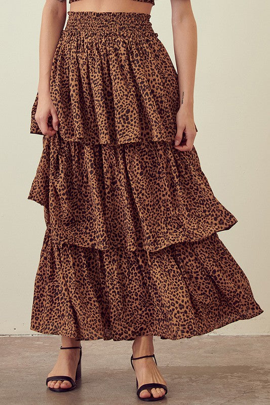 Smocked Leopard Tiered Skirt