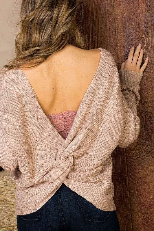 Twist Front/Back Sweater- Taupe