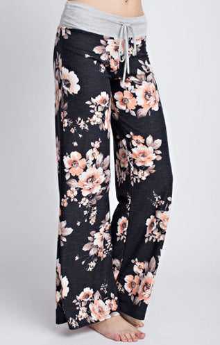 Black Floral Lounge Pants