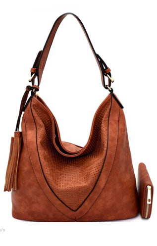 Brown Perforated Purse