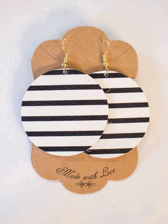 Black & White Striped Leather Earrings
