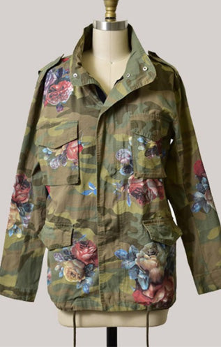 Camouflage Floral Military Jacket