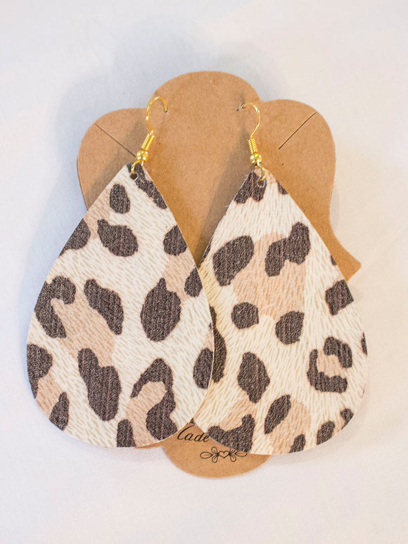 Cheetah (Almond) Leather Earrings