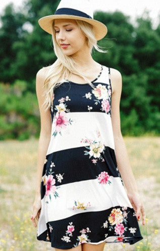 Floral Color Block Dress