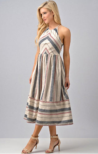 Woven Striped Halter Dress