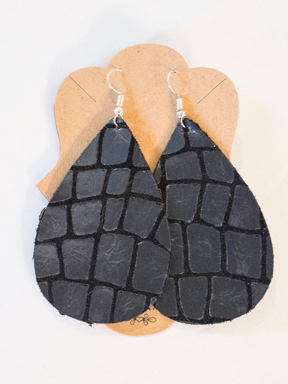 Metallic Black Leather Earrings