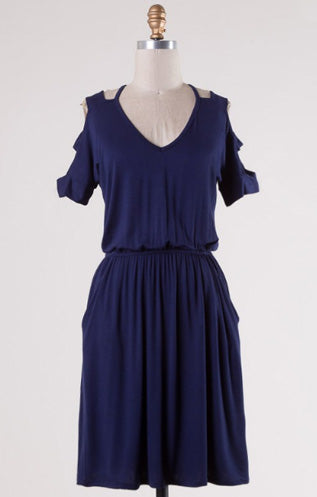 Navy V-Cut Dress