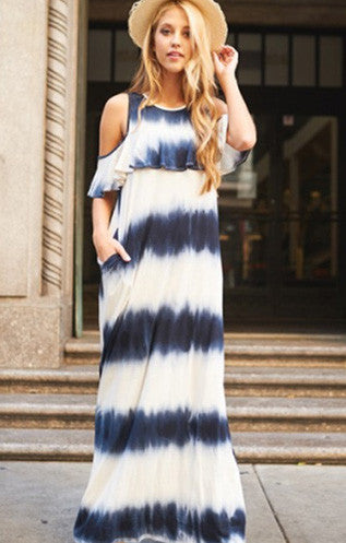 Navy Tie Dye Cold Shoulder Maxi Dress