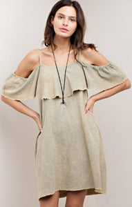 Olive Dyed Garment Dress