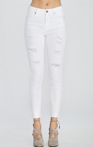 White Distressed Pant