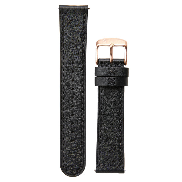 20mm black leather strap, rose gold