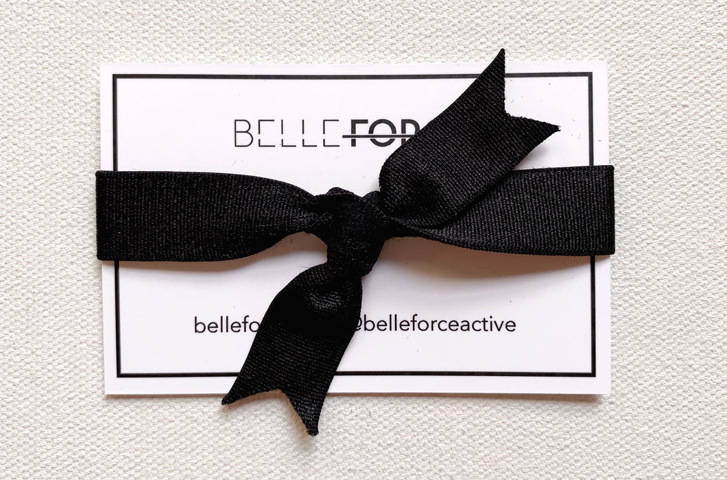 FRENCH ELASTIC HAIRTIE - BLACK SATIN