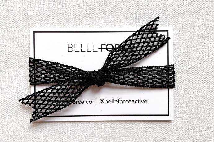 FRENCH ELASTIC HAIRTIE - BLACK NETTING