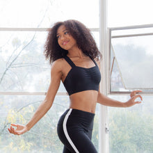 belle force black sweetheart sports bra