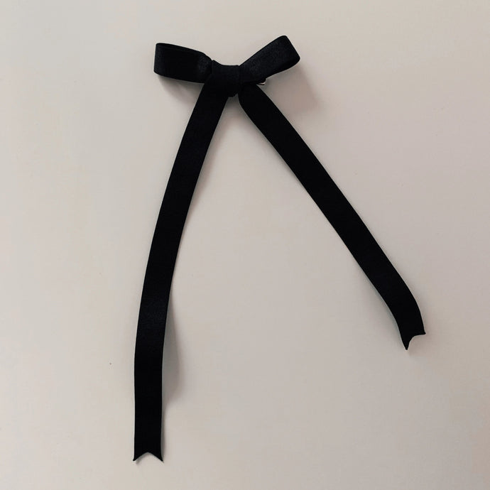 French Elastic Long Bow - Black Satin