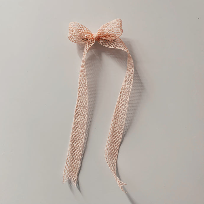 French Elastic Long Bow - Blush Netting