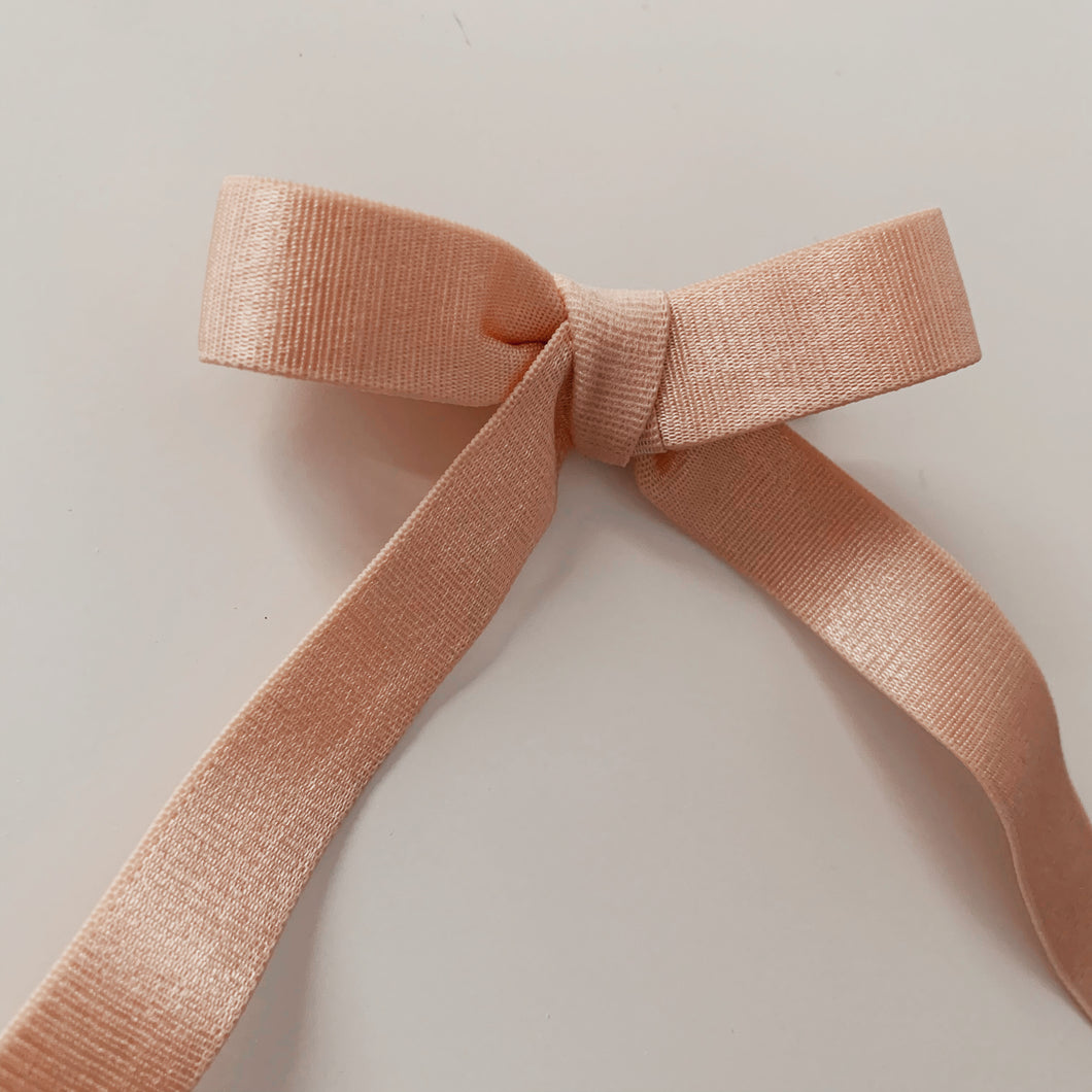 French Elastic Long Bow - Blush Satin