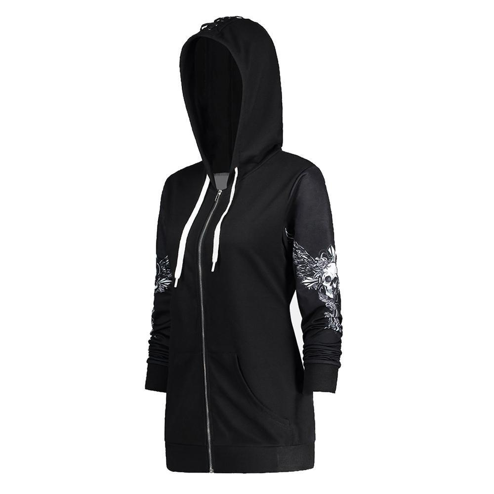 fashionBrand Apparel Store Hoodies & Sweatshirts Skull Wings Punk Women Hoodie