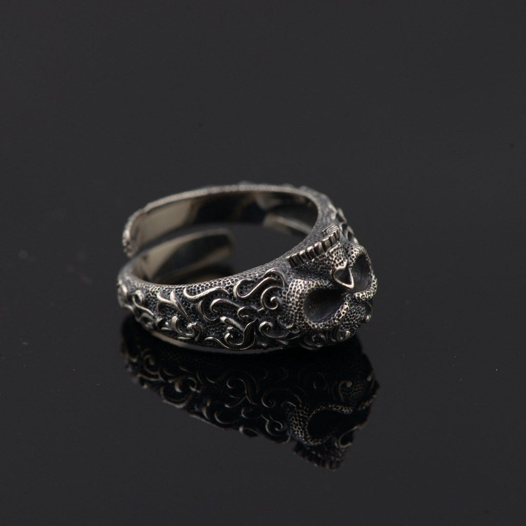 GQTorch Jewelry Store Rings Re-sizable Vintage Skull Rings 925 Sterling Silver