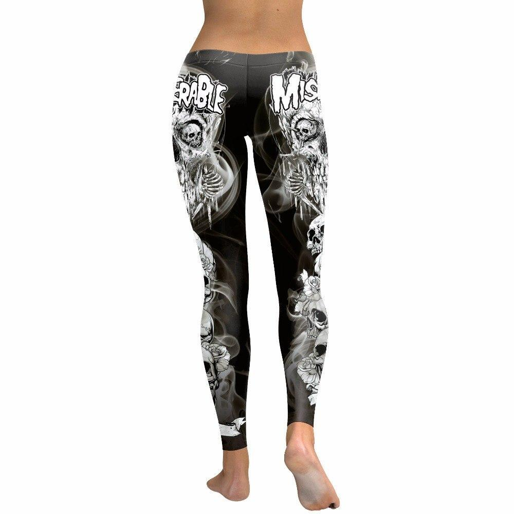 nadanbao Official Store Punk Skulls B&W Leggings