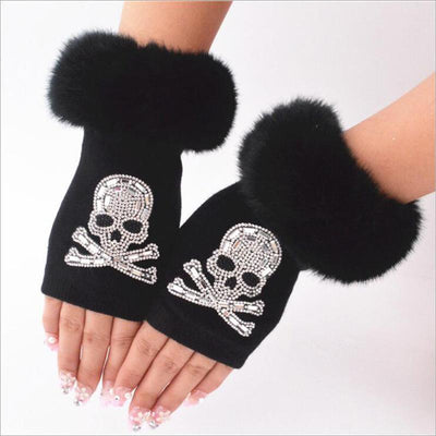 NIUPOZ GLOVE HuiTaiLang Store Gloves & Mittens DIAMOND Skull women Gloves