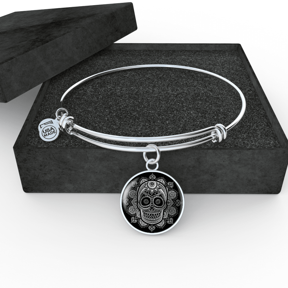 ShineOn Fulfillment Jewelry Luxury Bangle (Silver) Vintage Skull Luxury Necklace & Bangle