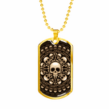 ShineOn Fulfillment Jewelry Military Chain (Gold) Skull & Bones Military Ball Chain