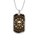 ShineOn Fulfillment Jewelry Military Chain (Silver) Skull & Bones Military Ball Chain