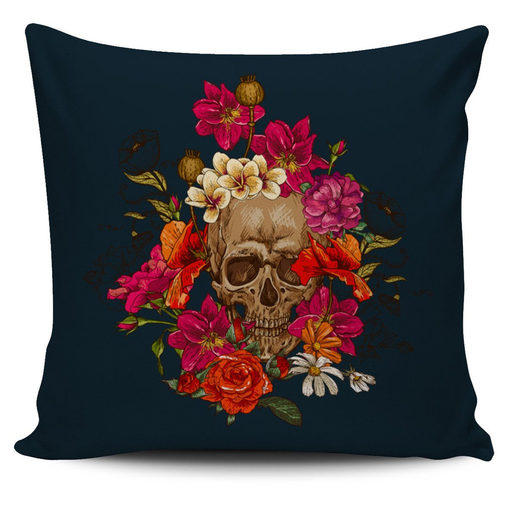 Skull Obsession 1 Skull & Pink Roses Pillow Cover