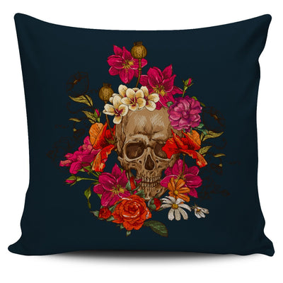 Skull Obsession 3 Skull & Pink Roses Pillow Cover