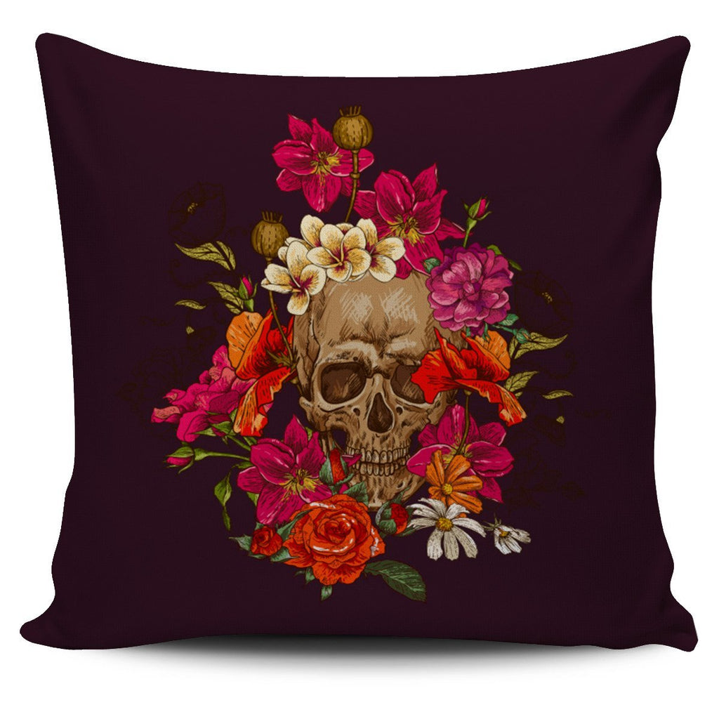 Skull Obsession 2 Skull & Pink Roses Pillow Cover