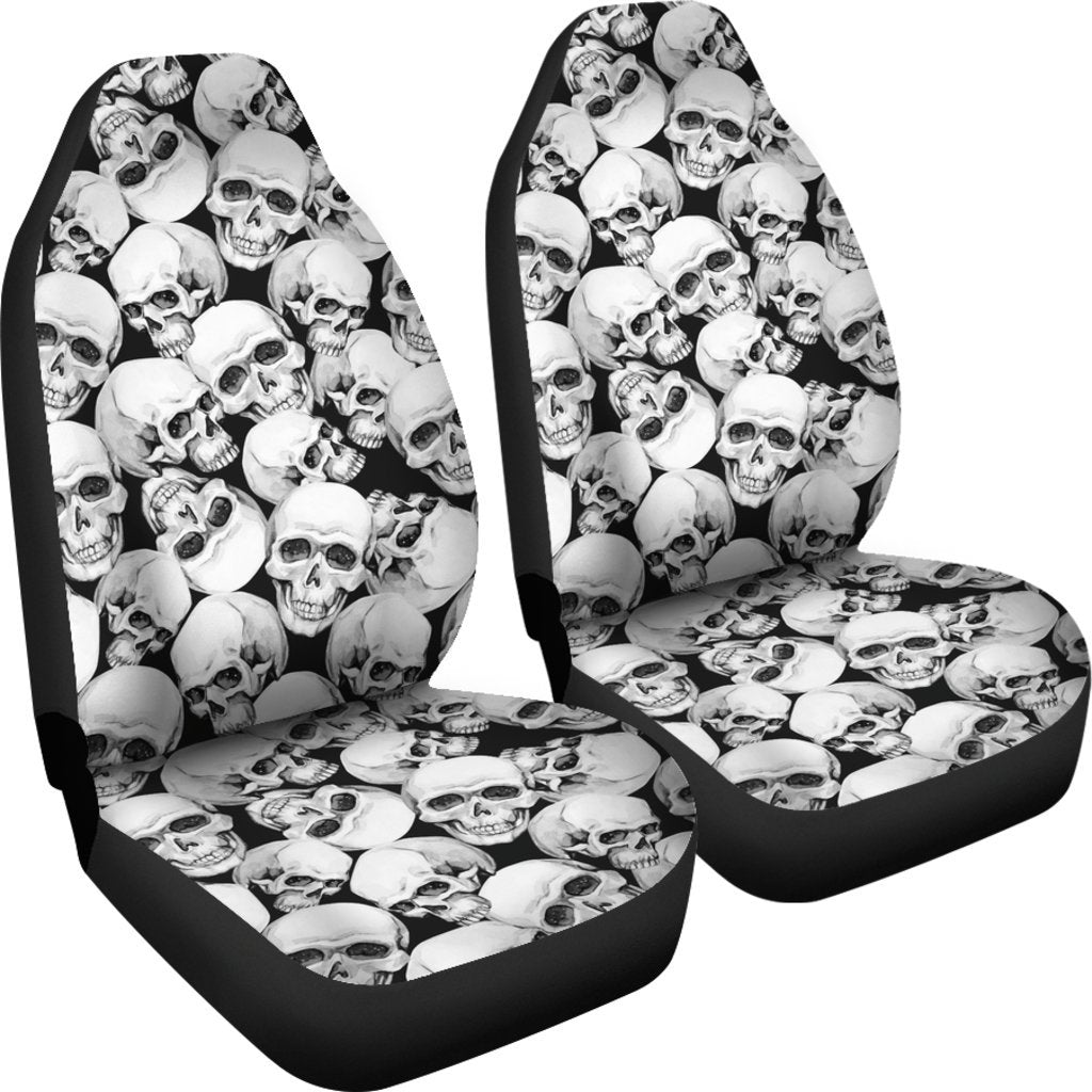 Skull Obsession BW Car Seat Covers