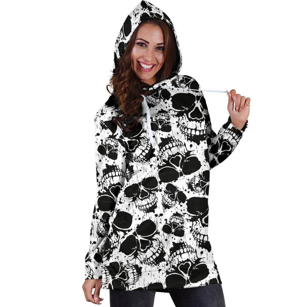 Skull Obsession B&W Skull Hoodie Dress