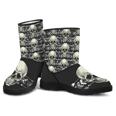 Skull Obsession B&W Skull & Raw Faux Fur Boots