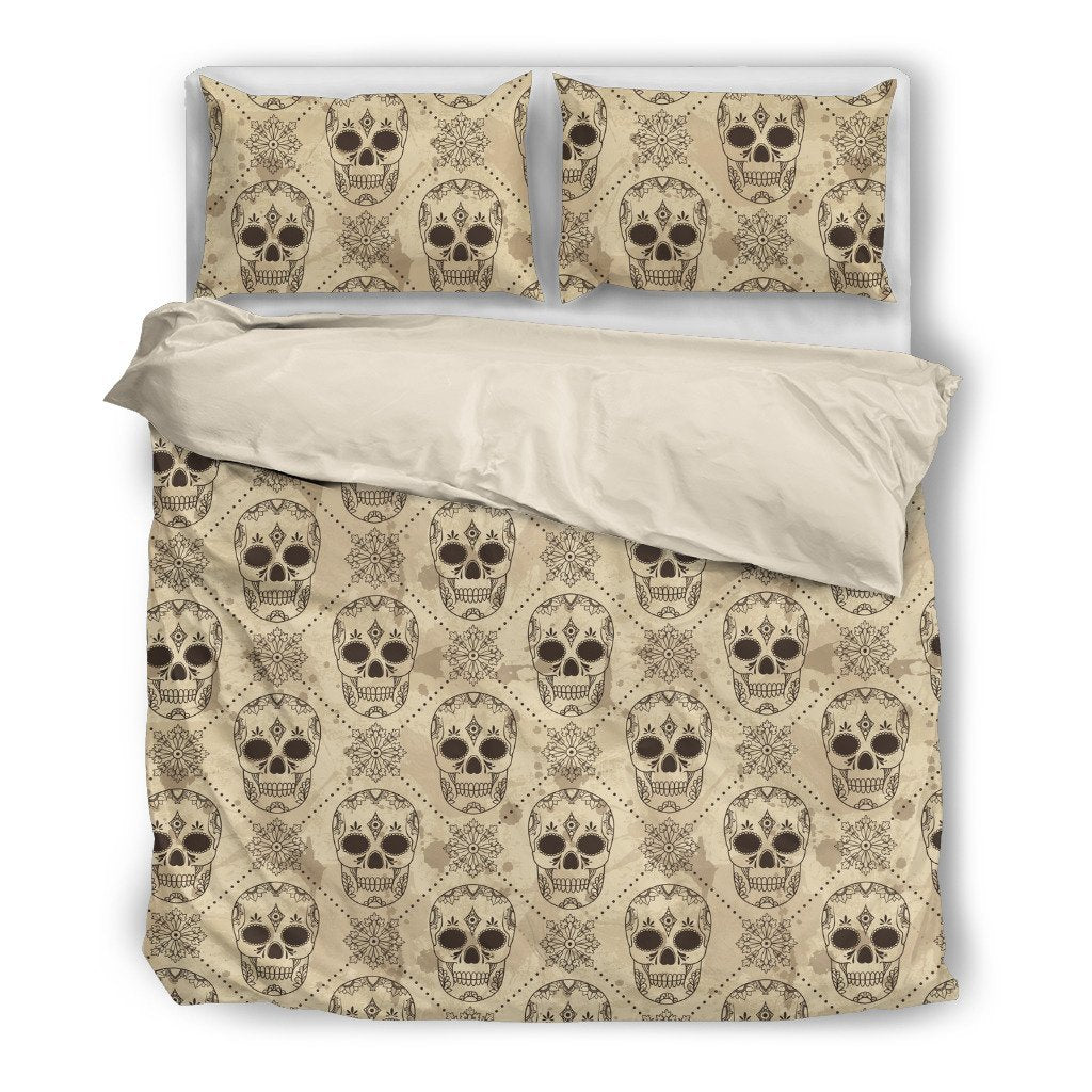 Skull Obsession Bedding Set - Beige - WHITE / Twin BEIGE SKULL BEDDING SET
